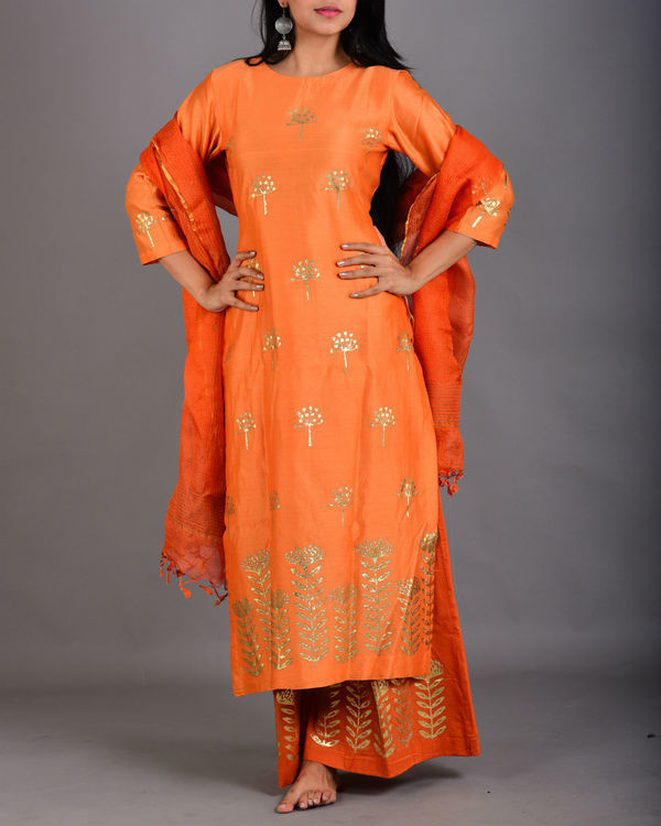 Tangerine orange marigold suit set