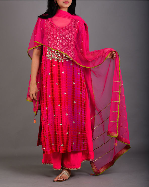 Rani pink embroidered suit set