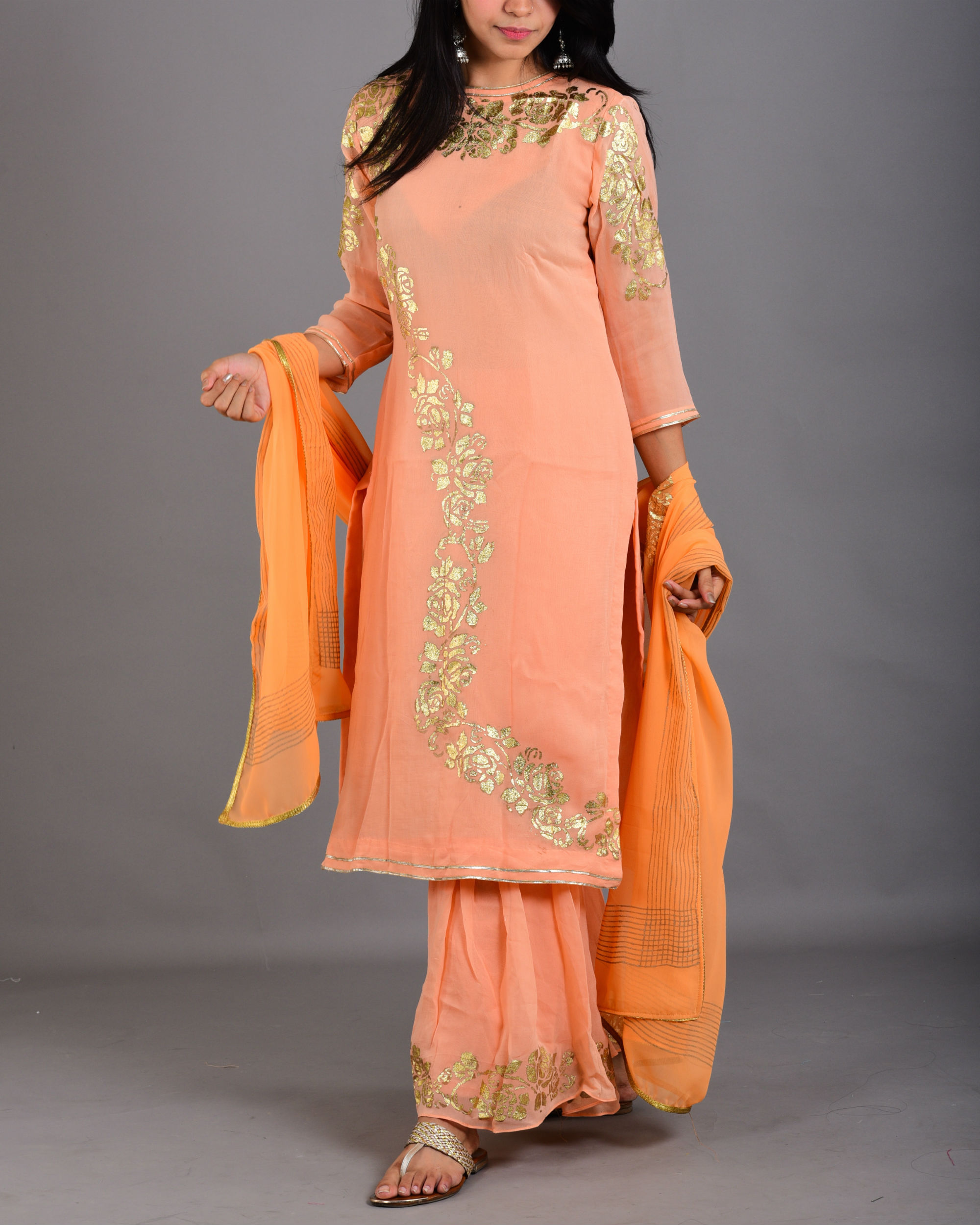 Pink peach gharara suit set