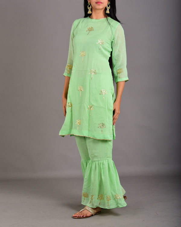 Mint green gharara suit set