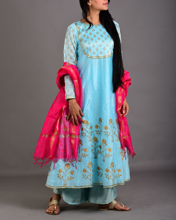 Aqua blue kalidar kurta set with dupatta