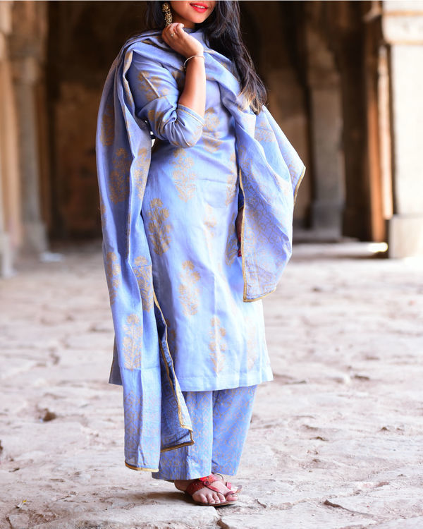 Jade Blue chanderi kurta set with dupatta