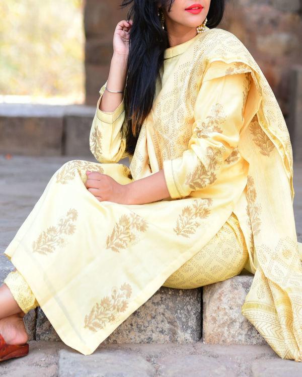 Pastel yellow kurta set with dupatta