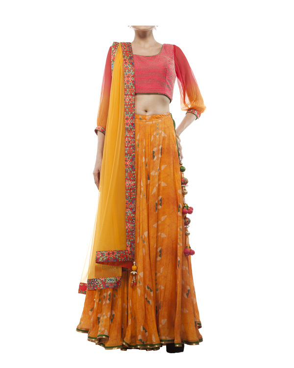 Pink & orange georgette silk lehenga set