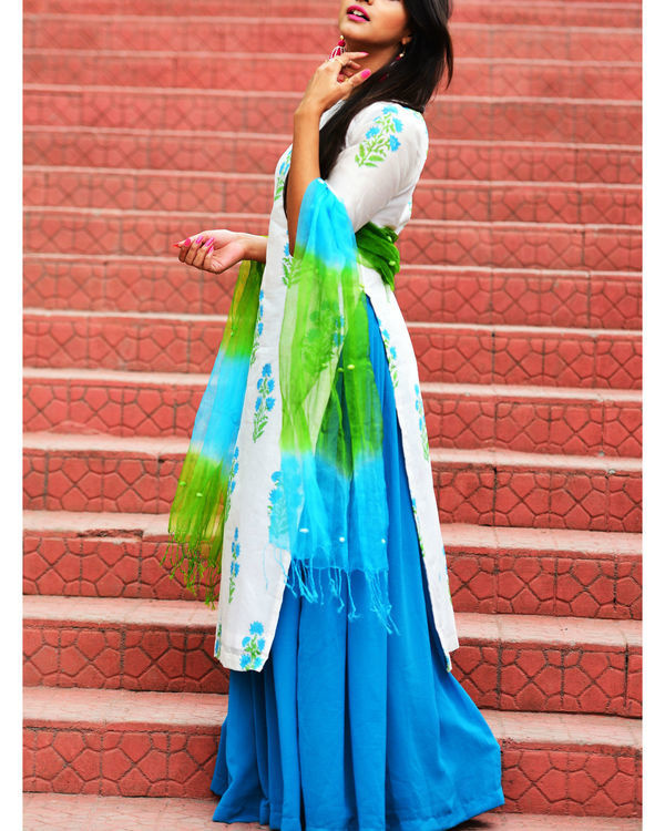 Blue green kurta set with dupatta