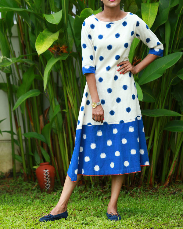 White and blue ikat kurta