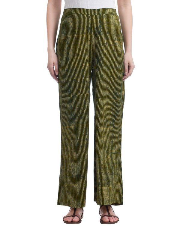 Green striped plazzo pants