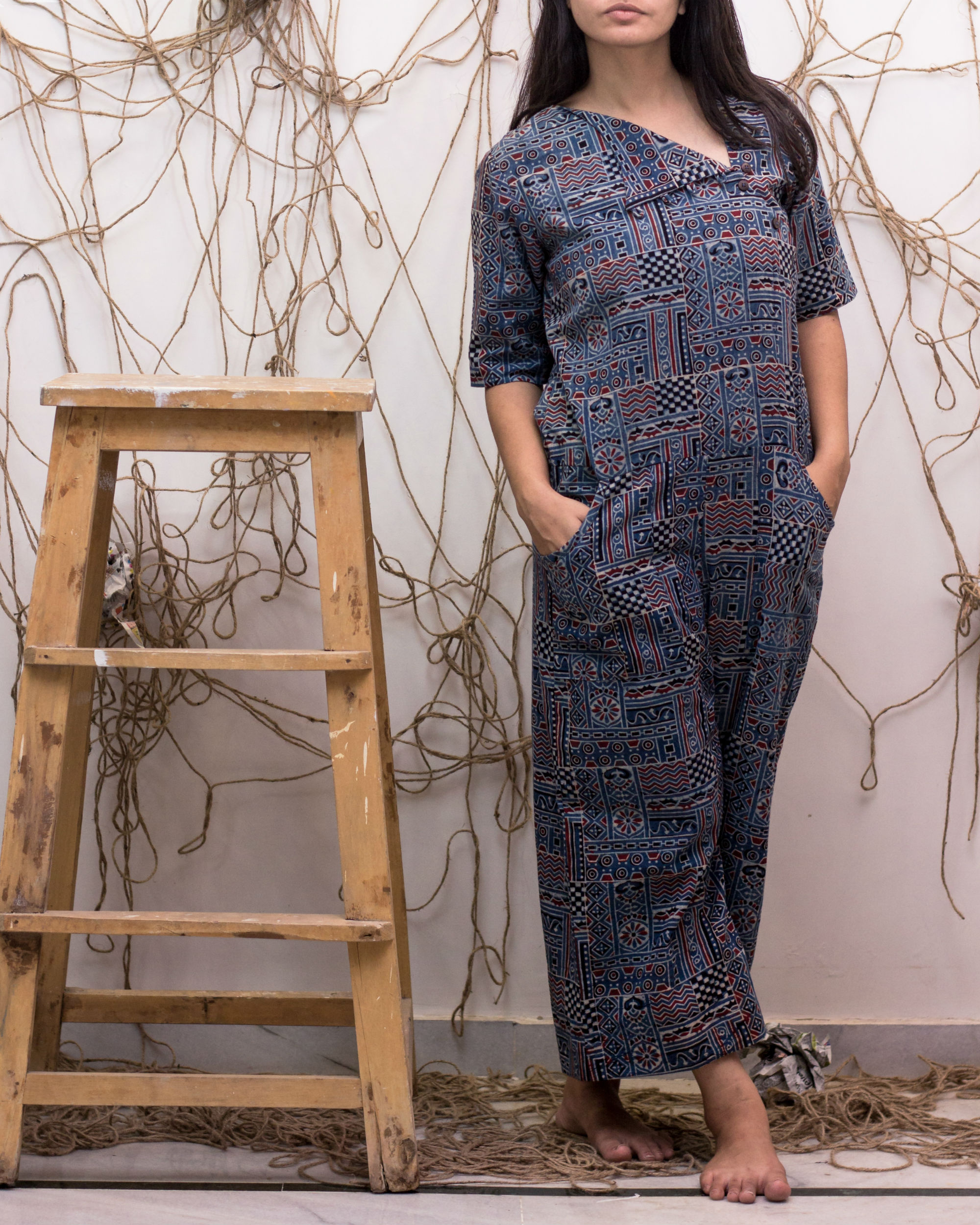 Assymetrical buttoned cotton jumpsuit