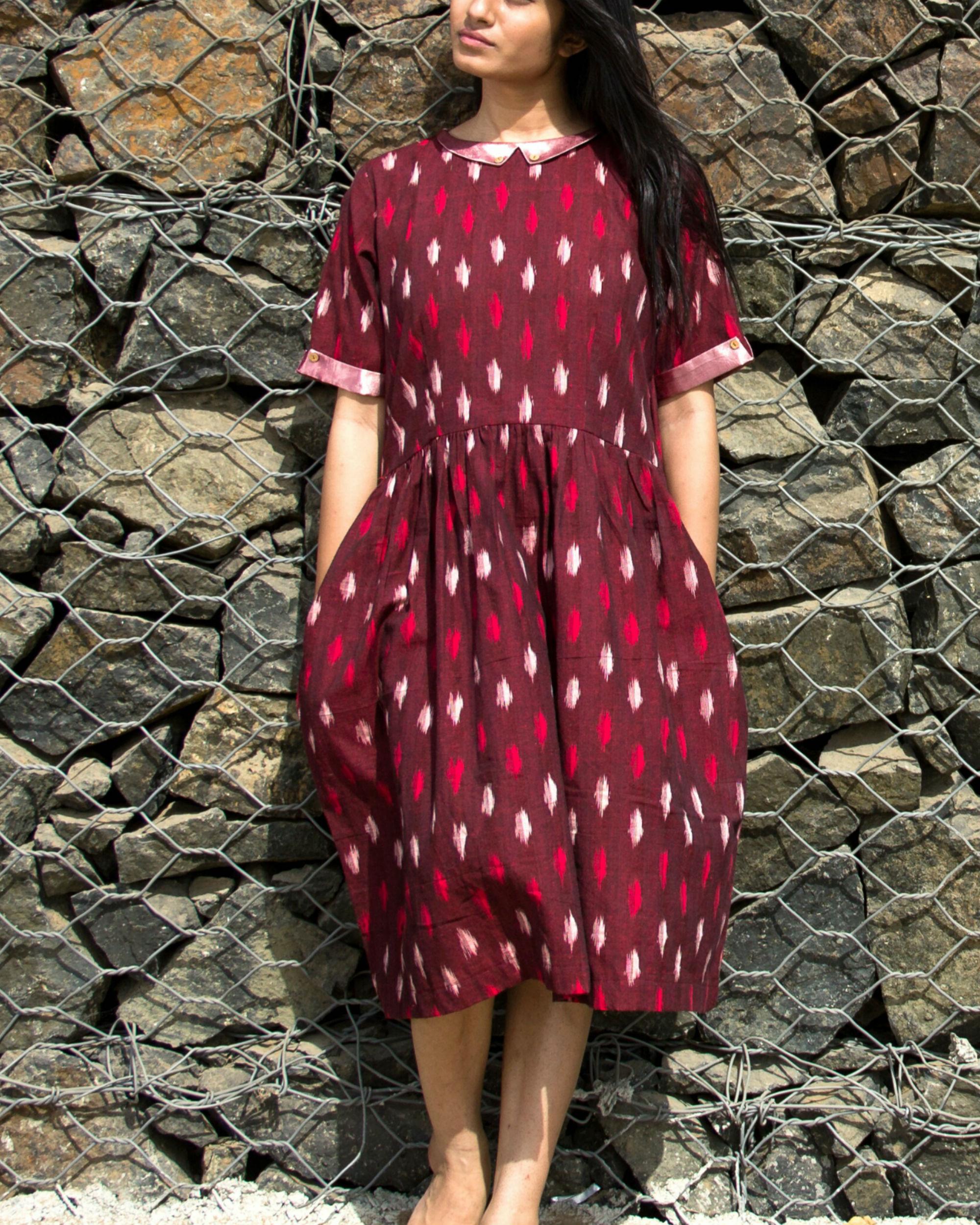 Maroon ikat dress
