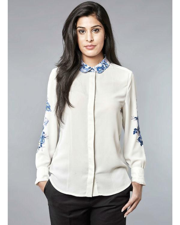 White indigo shirt