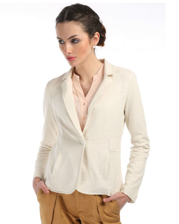 Ivory knit blazer with elbow patch