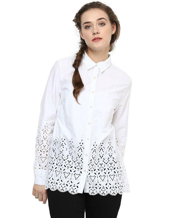 White cut out shirt