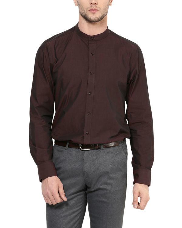 Maroon mandarin collar shirt