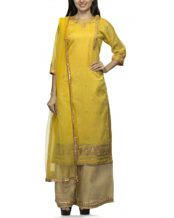 Mustard yellow kurta set with dupatta