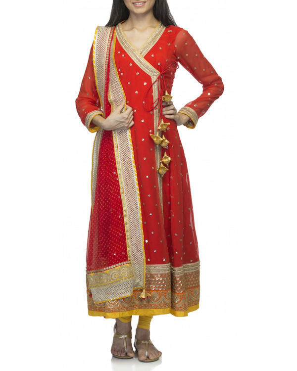 Red angrakha set with dupatta