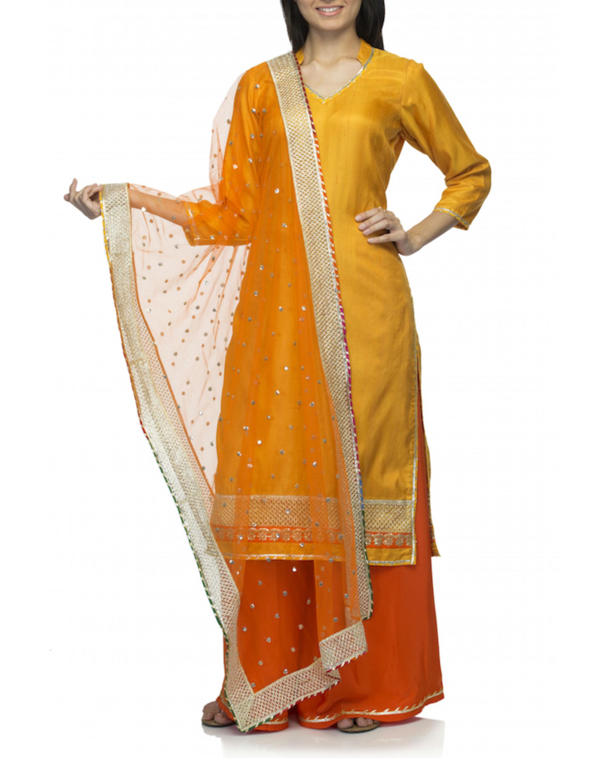 2209c101d87 Orange yellow kurta set with dupatta by Rang by Manjula Soni