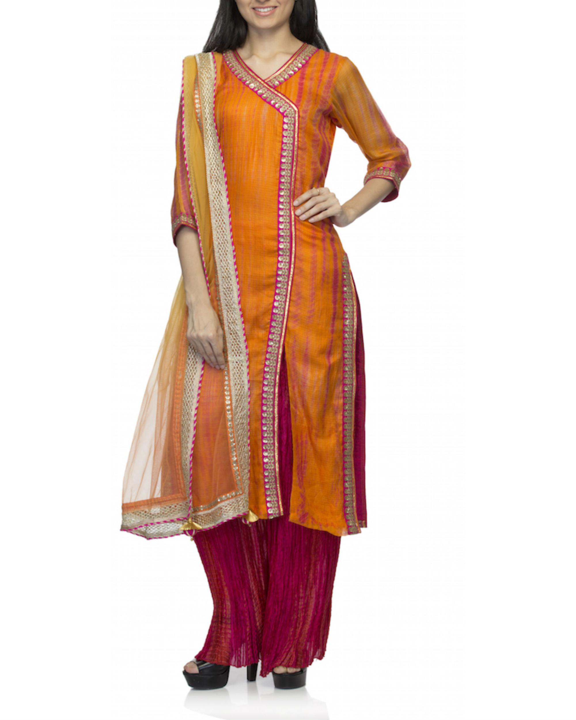 Orange angrakha set with dupatta