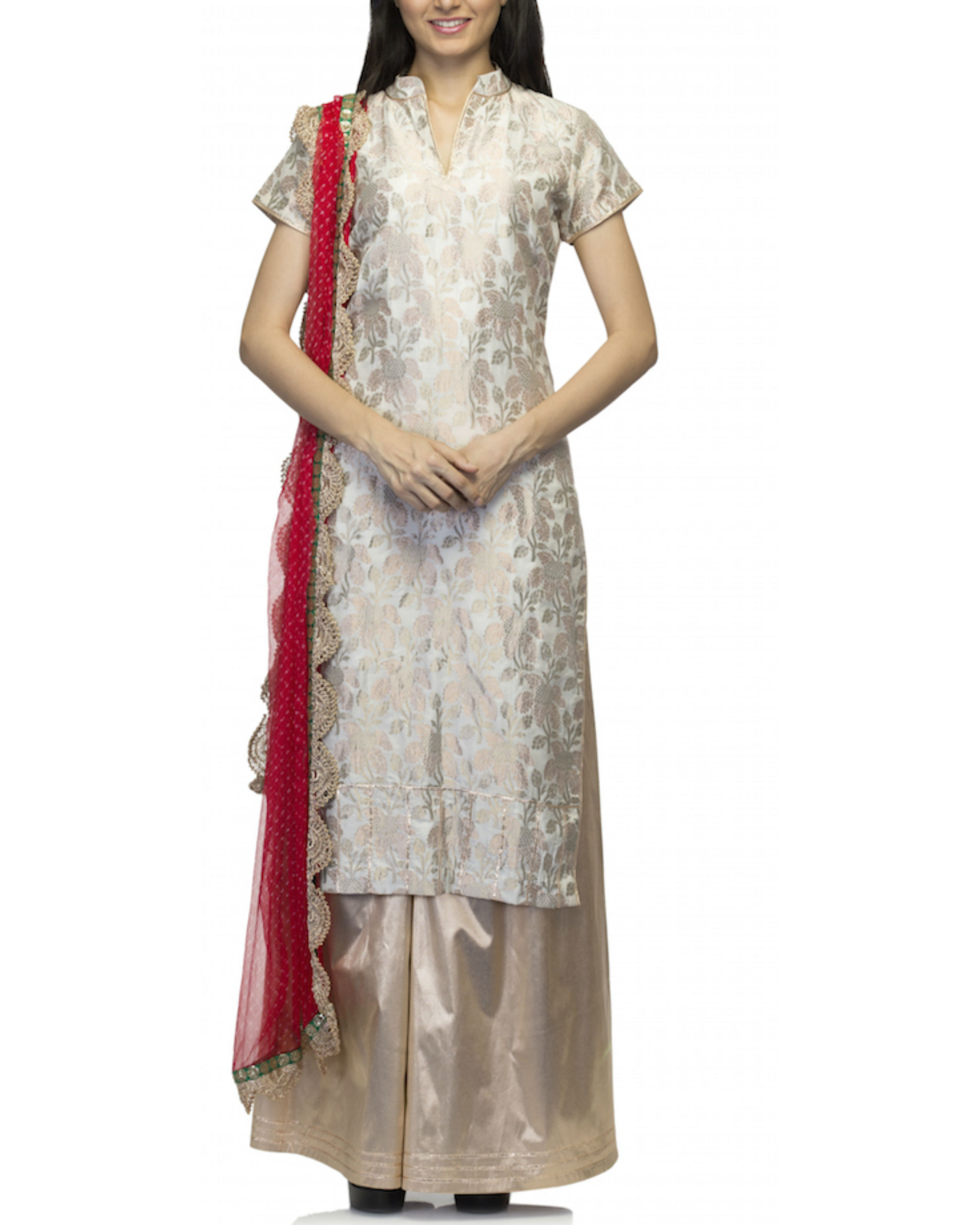 Beige kurta set with dupatta