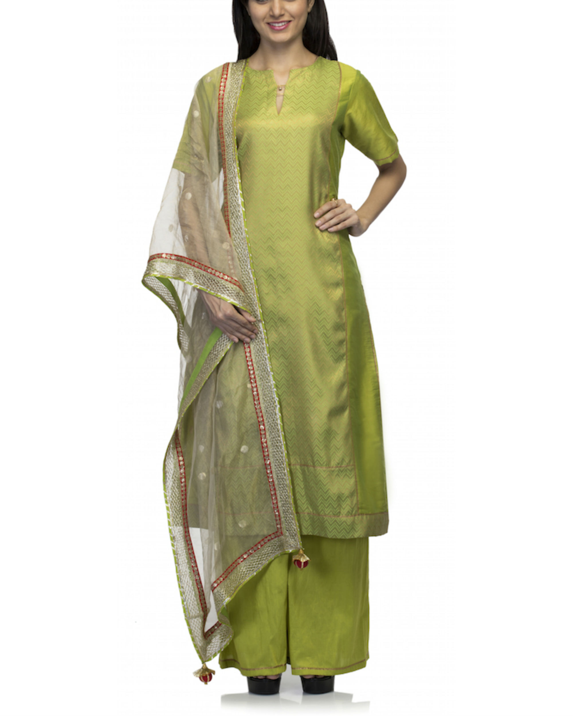 Lime green kurta set with dupatta