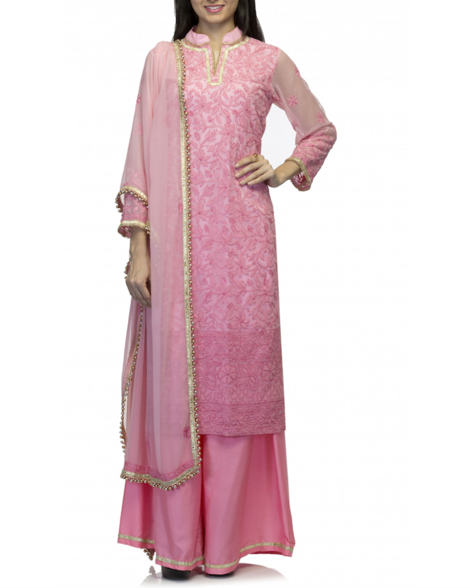 Pink kurta set with dupatta