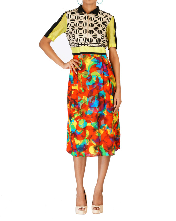 Digitally printed embroidered dress