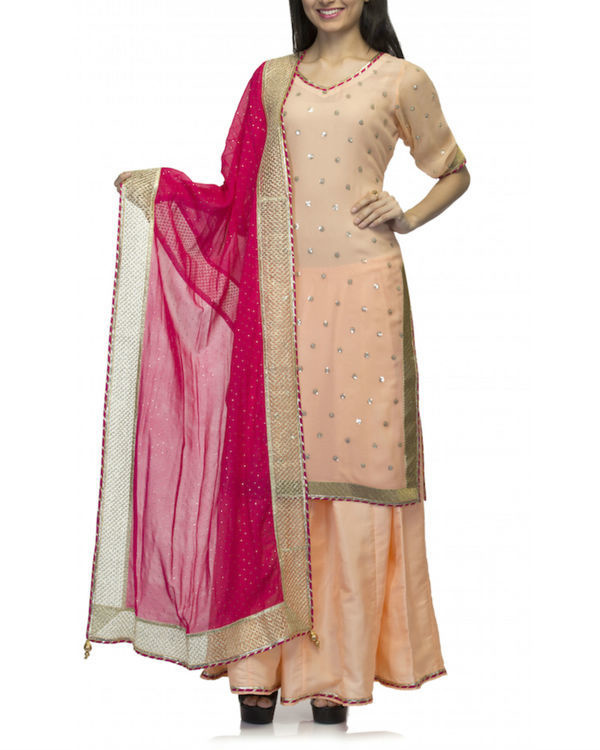 Peach pink kurta set with dupatta