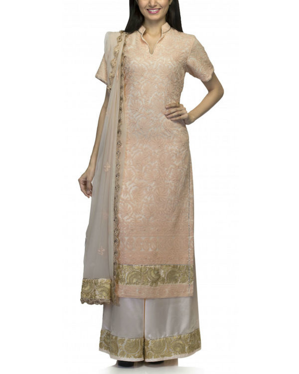 Peach white kurta set with dupatta