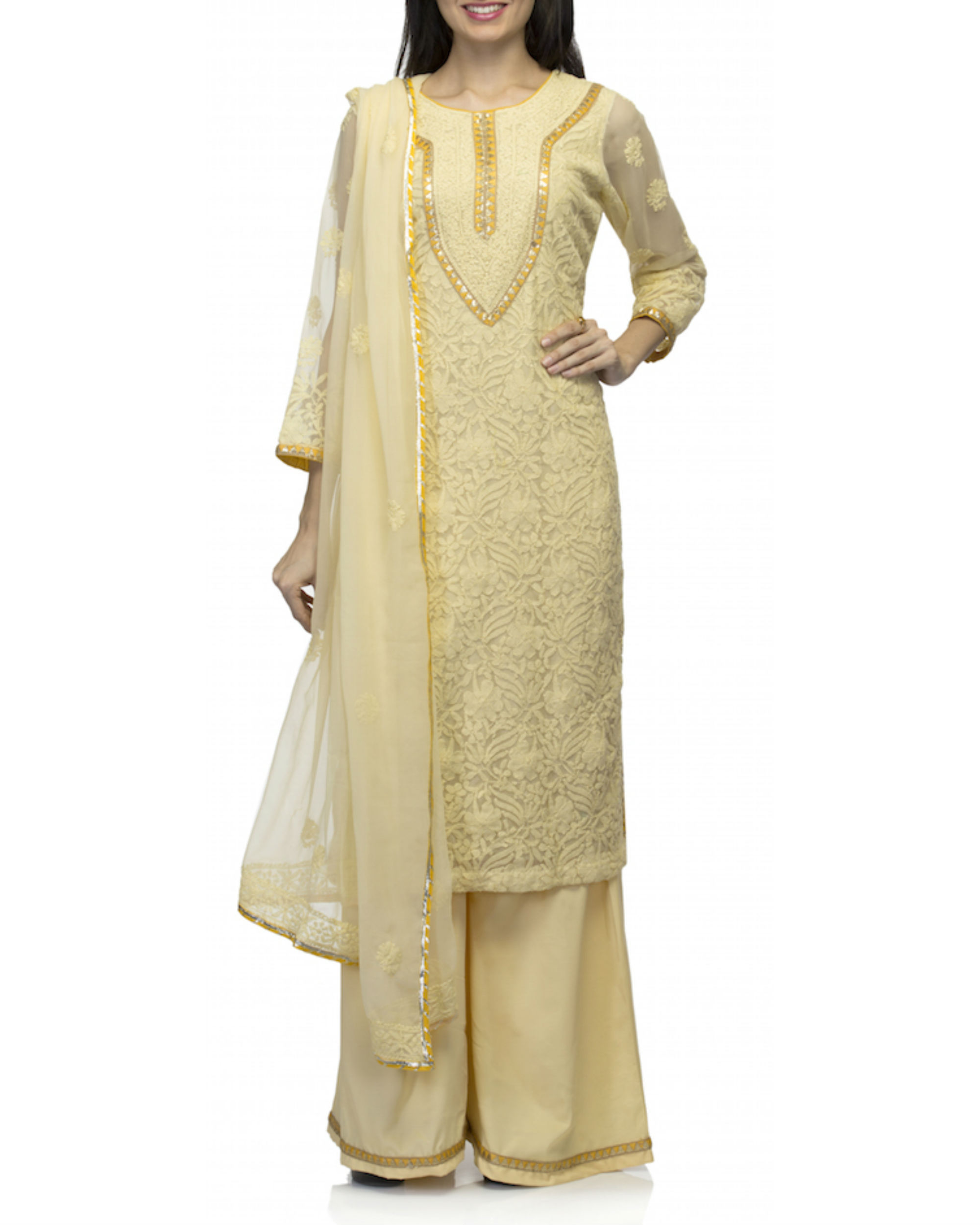 Yellow kurta set with dupatta