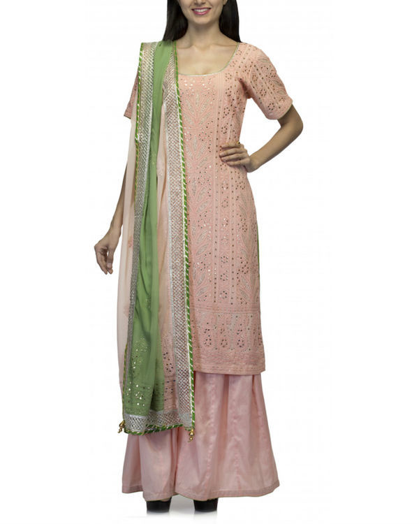 Pink kurta set with green dupatta