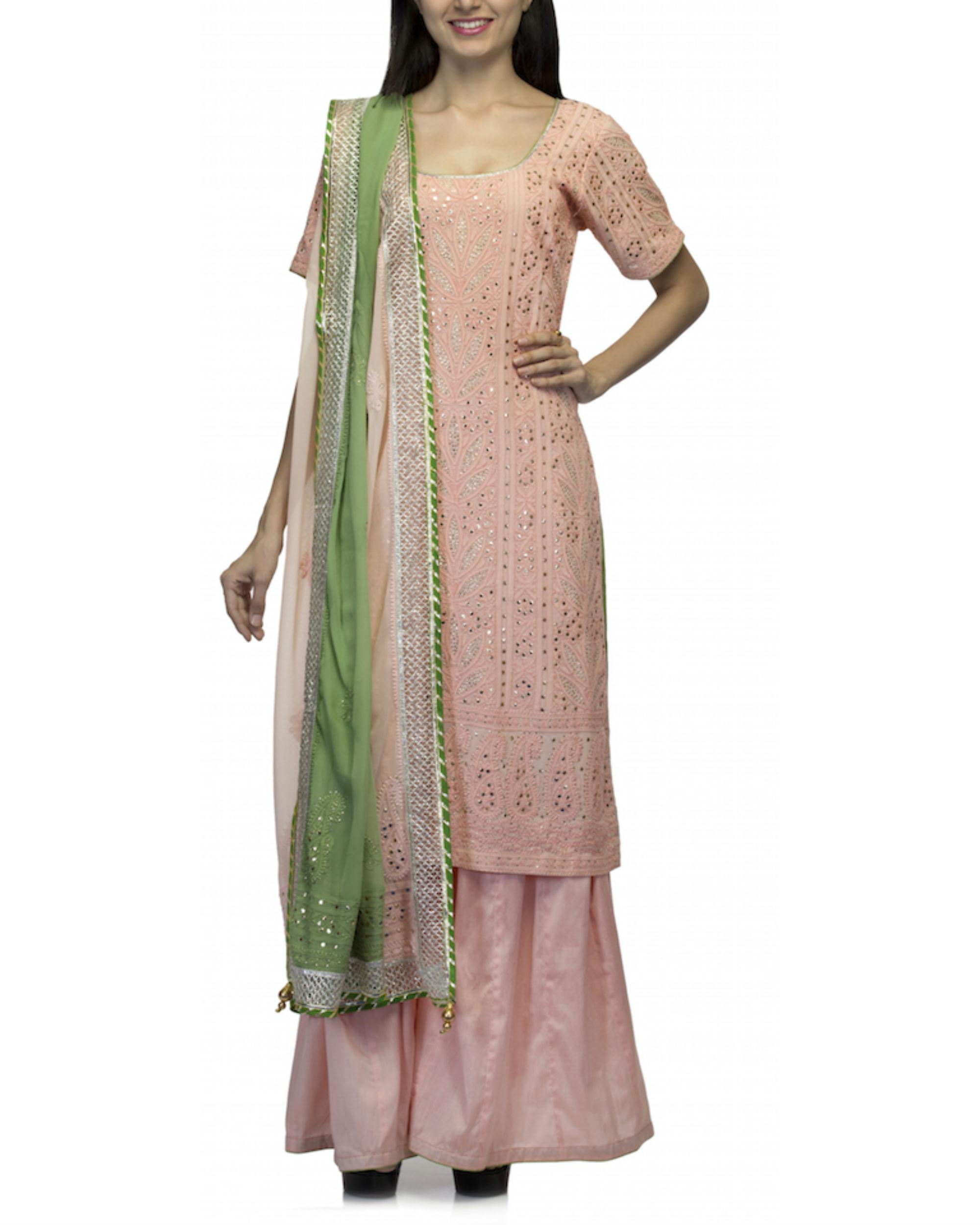 Pink kurta set with green dupatta