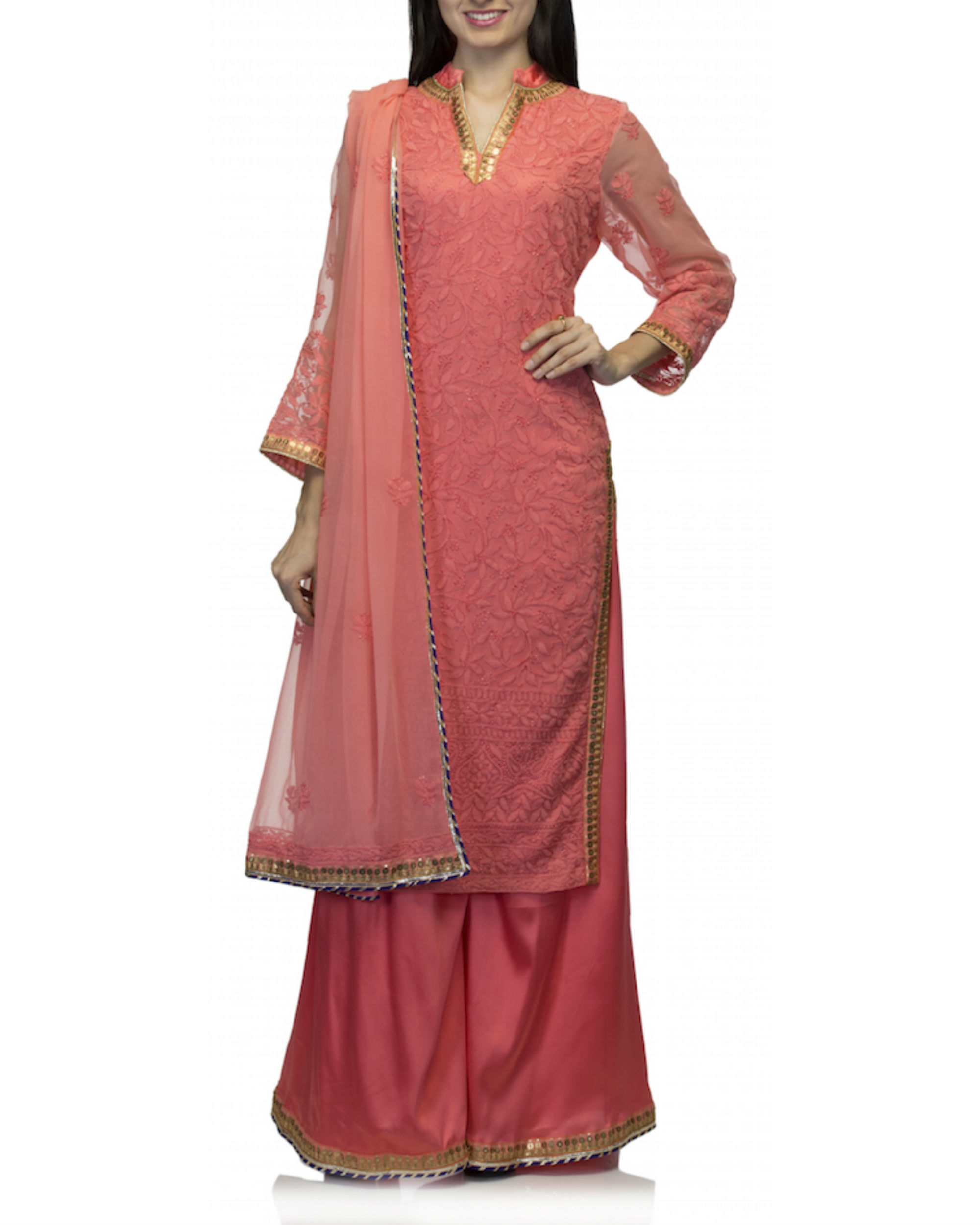 Coral kurta set with dupatta