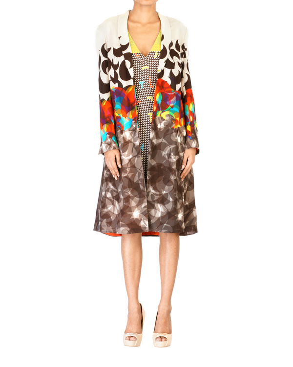 Digitally printed shawl collar jacket