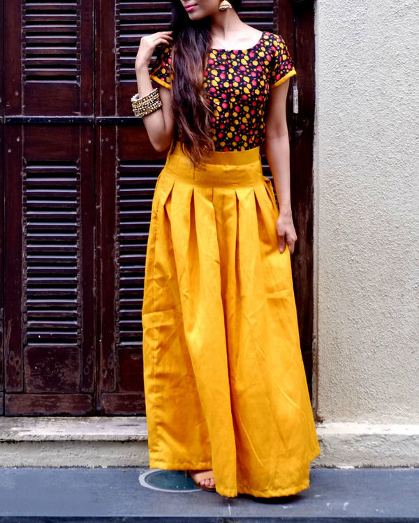 Mustard crop top and skirt set