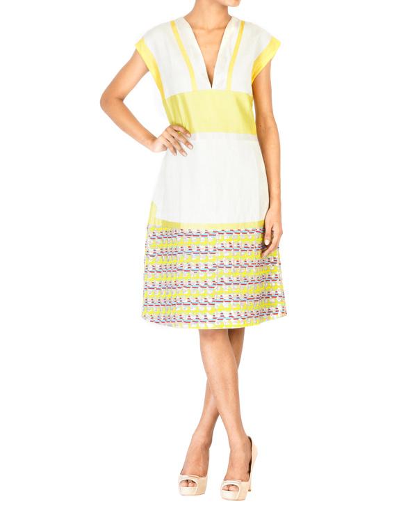 Linen v-neck slip dress