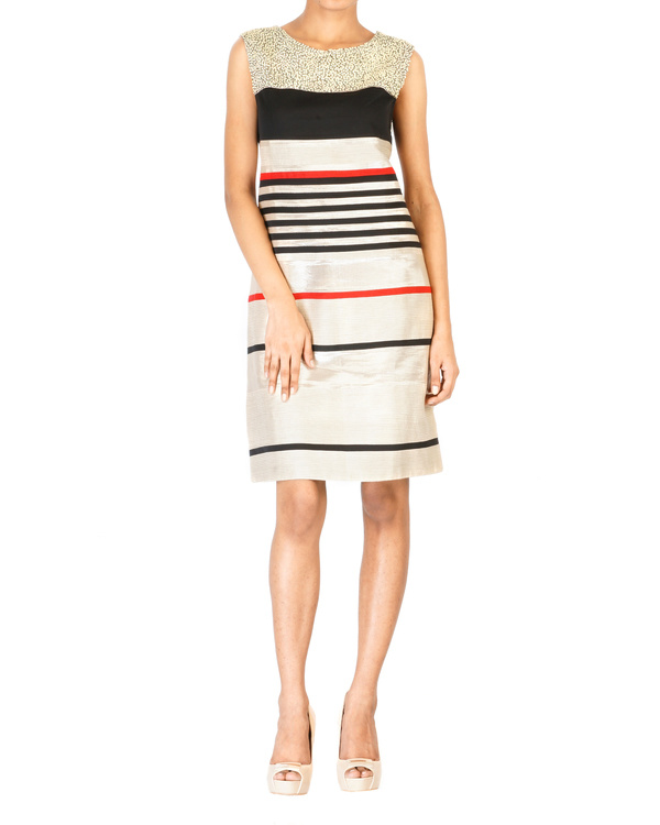 Multistripe cut & sew embroidered dress