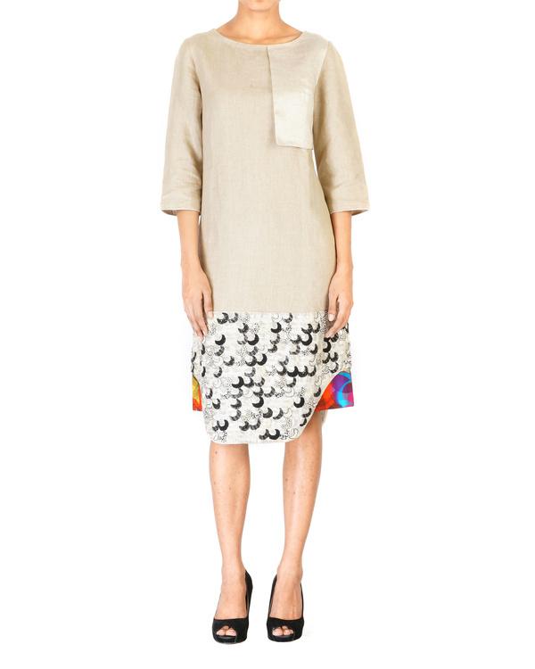 Linen embroidered slip dress