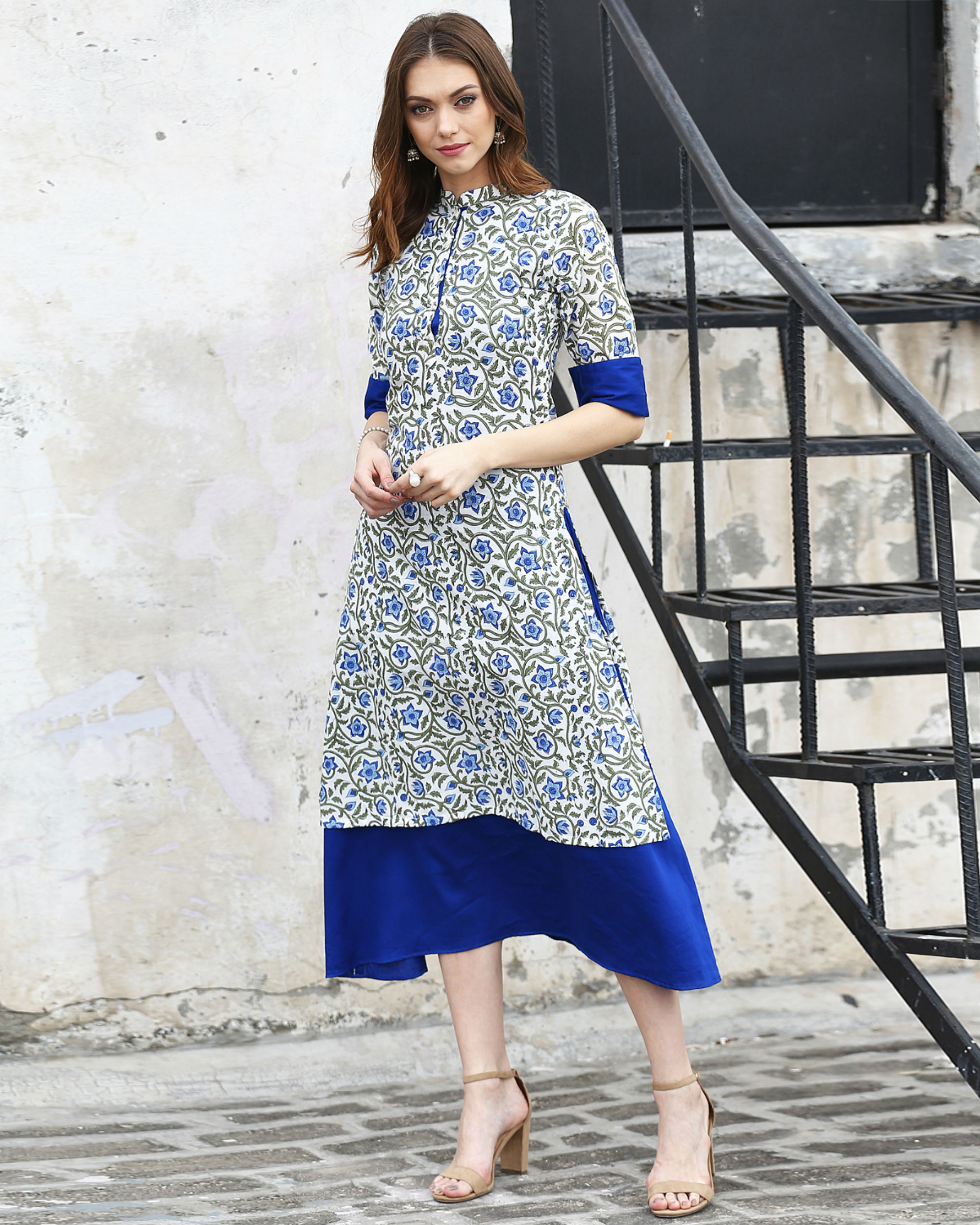 Blue Floral Double Layered Tunic