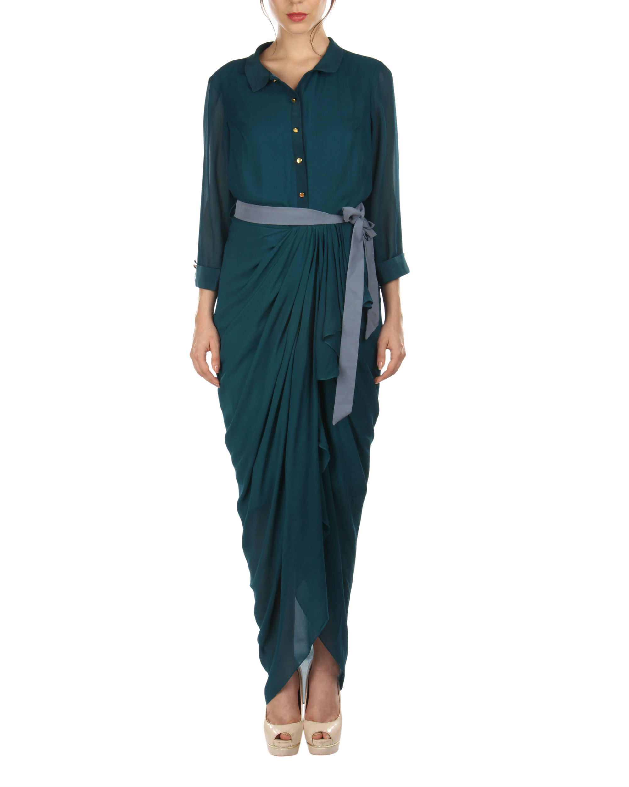Teal dhoti wrap dress