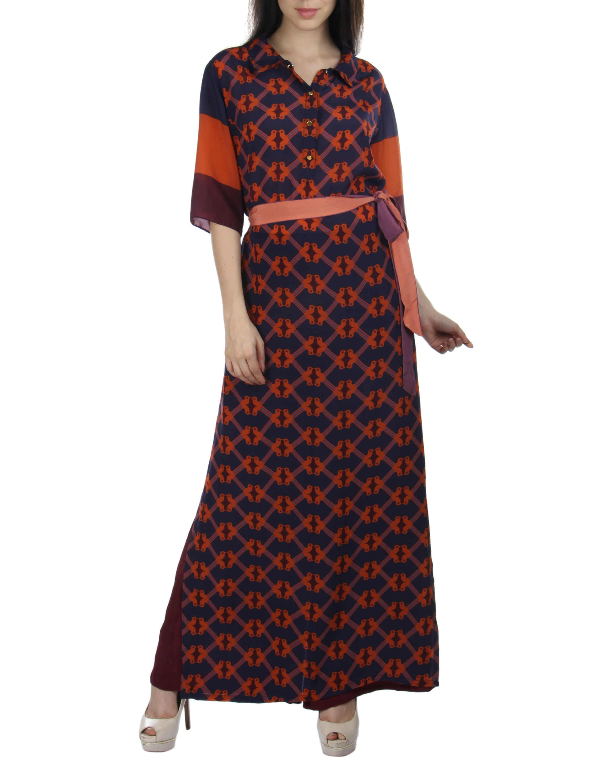 Navy orange long dress