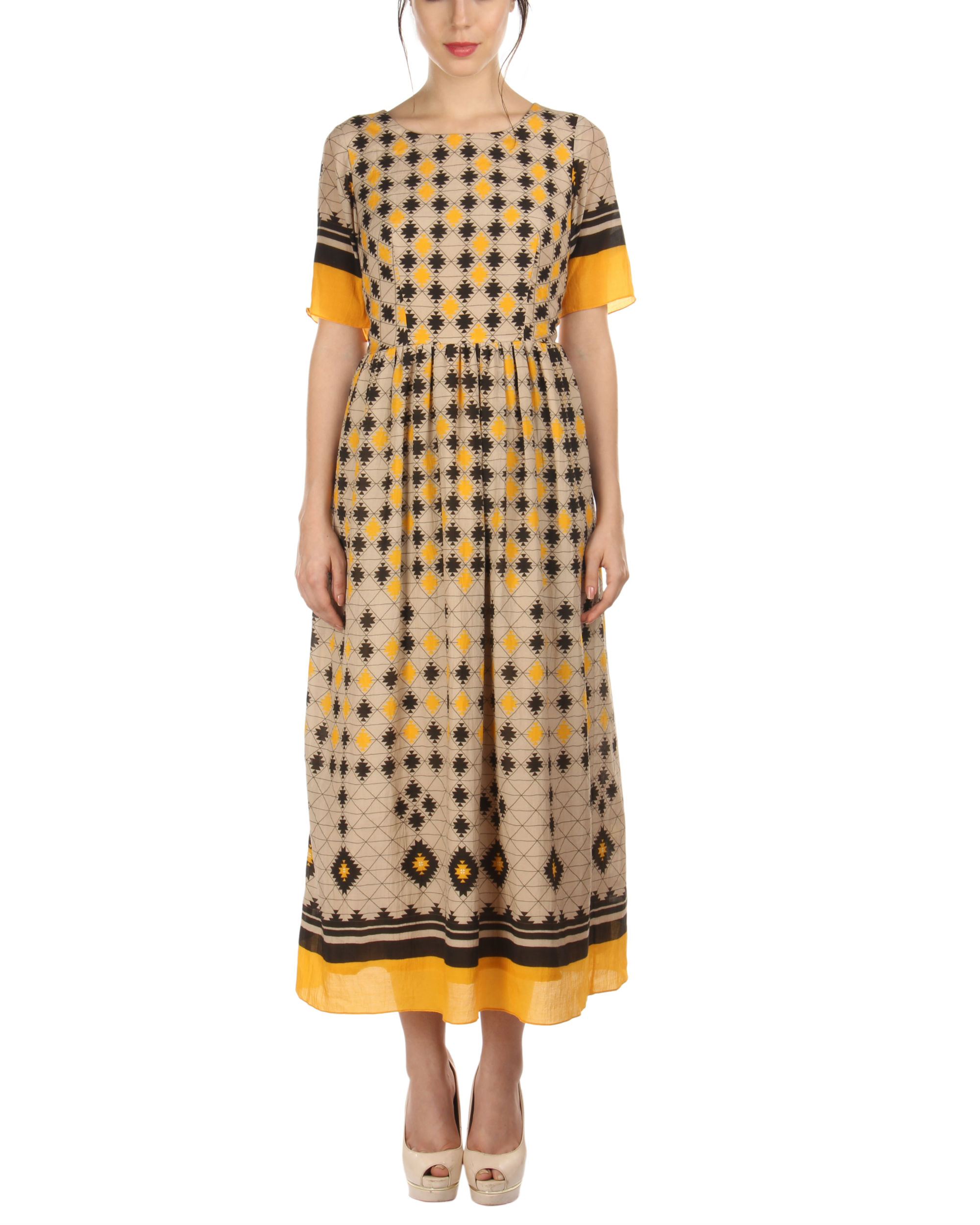 Yellow ankle length dress