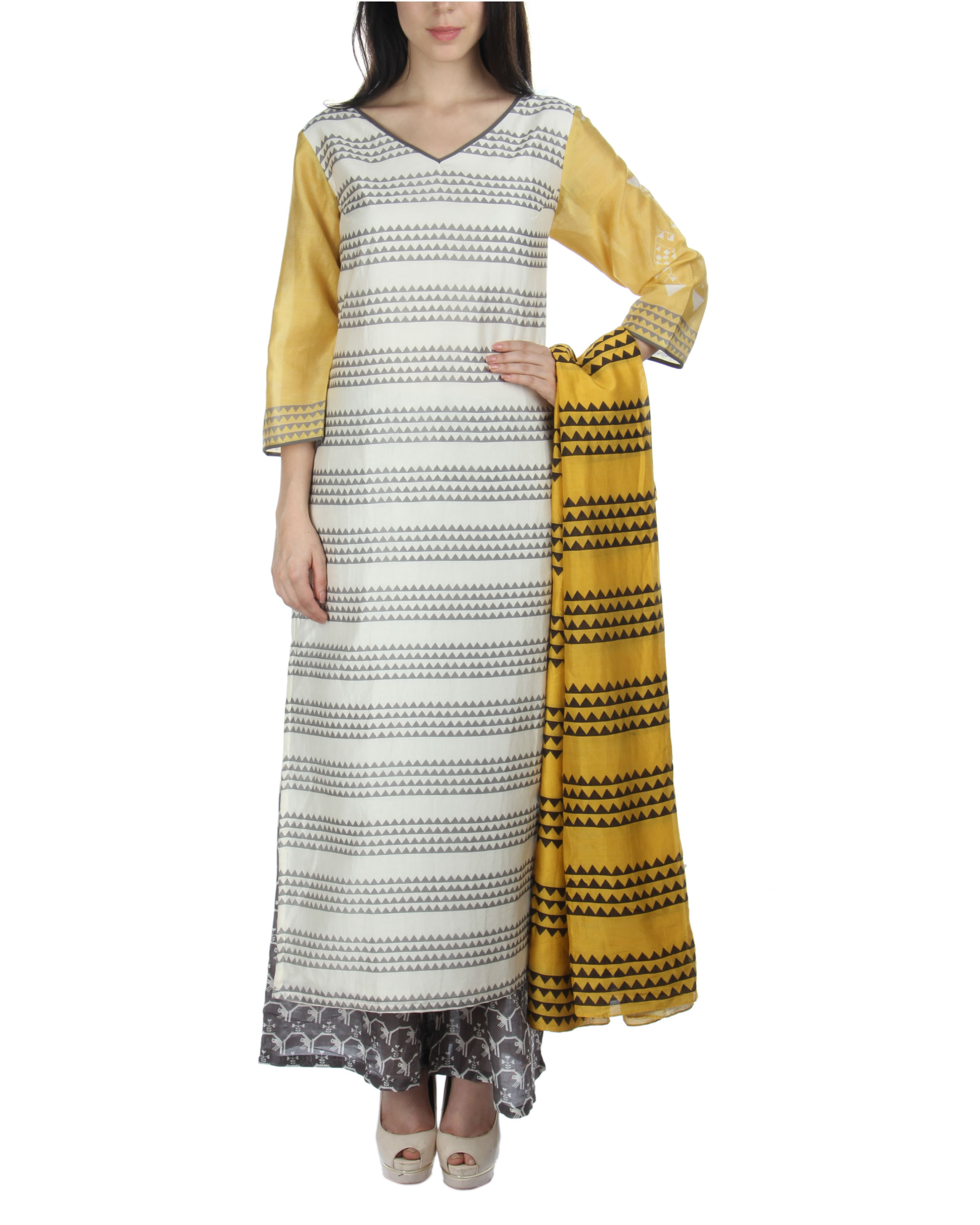 Yellow kurta set with palazzos and dupatta