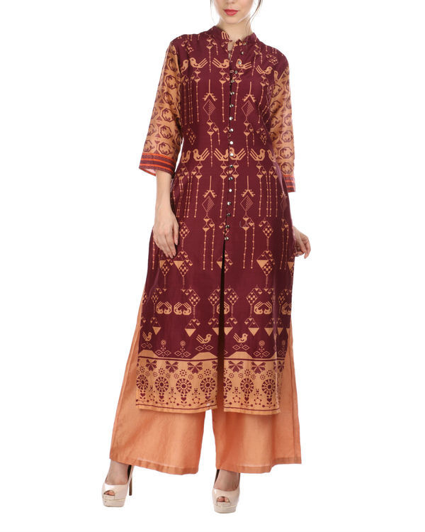 Maroon peach kurta and palazzo set