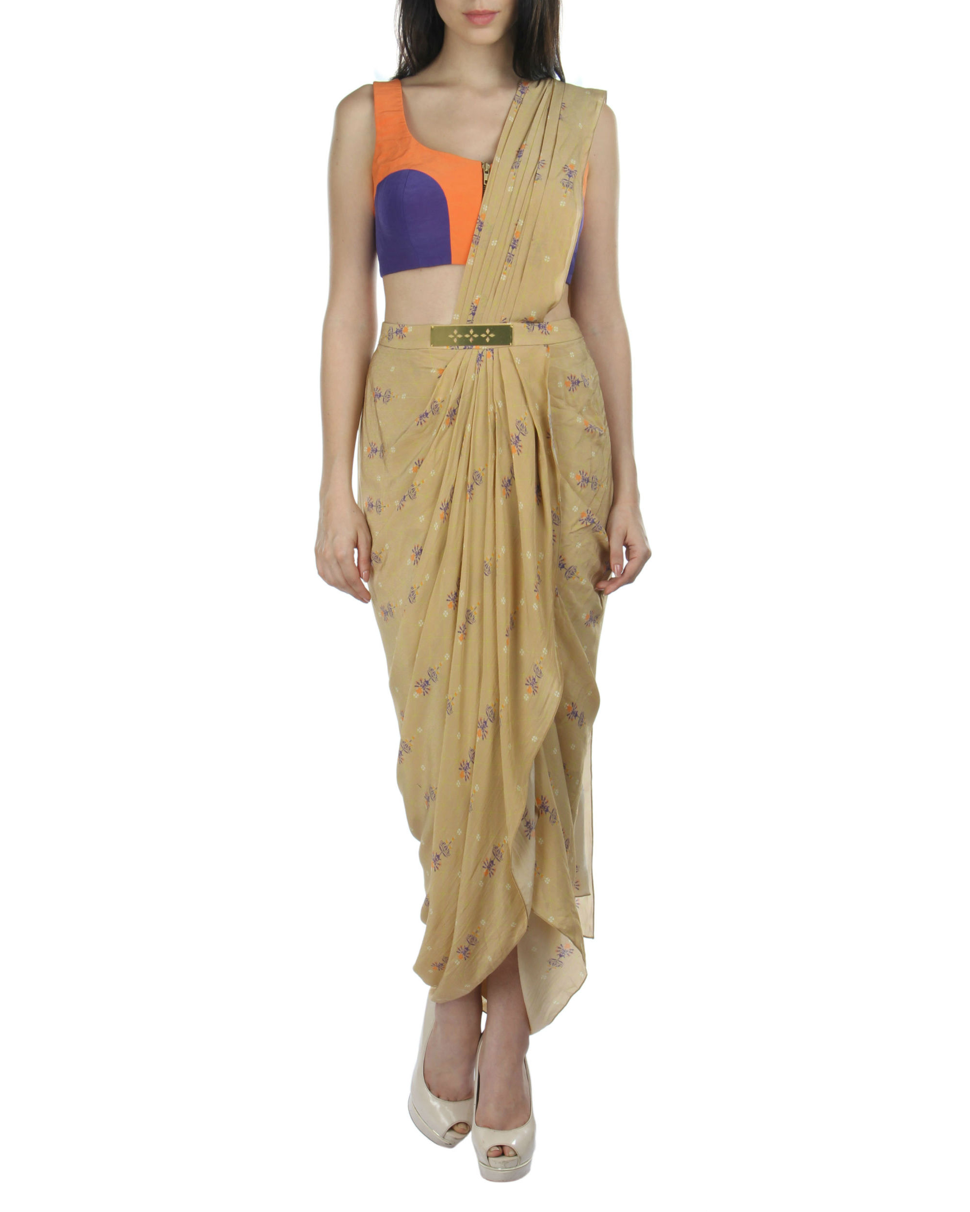 Ochre draped saree with blouse