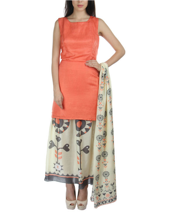 Peach kurta skirt set with dupatta