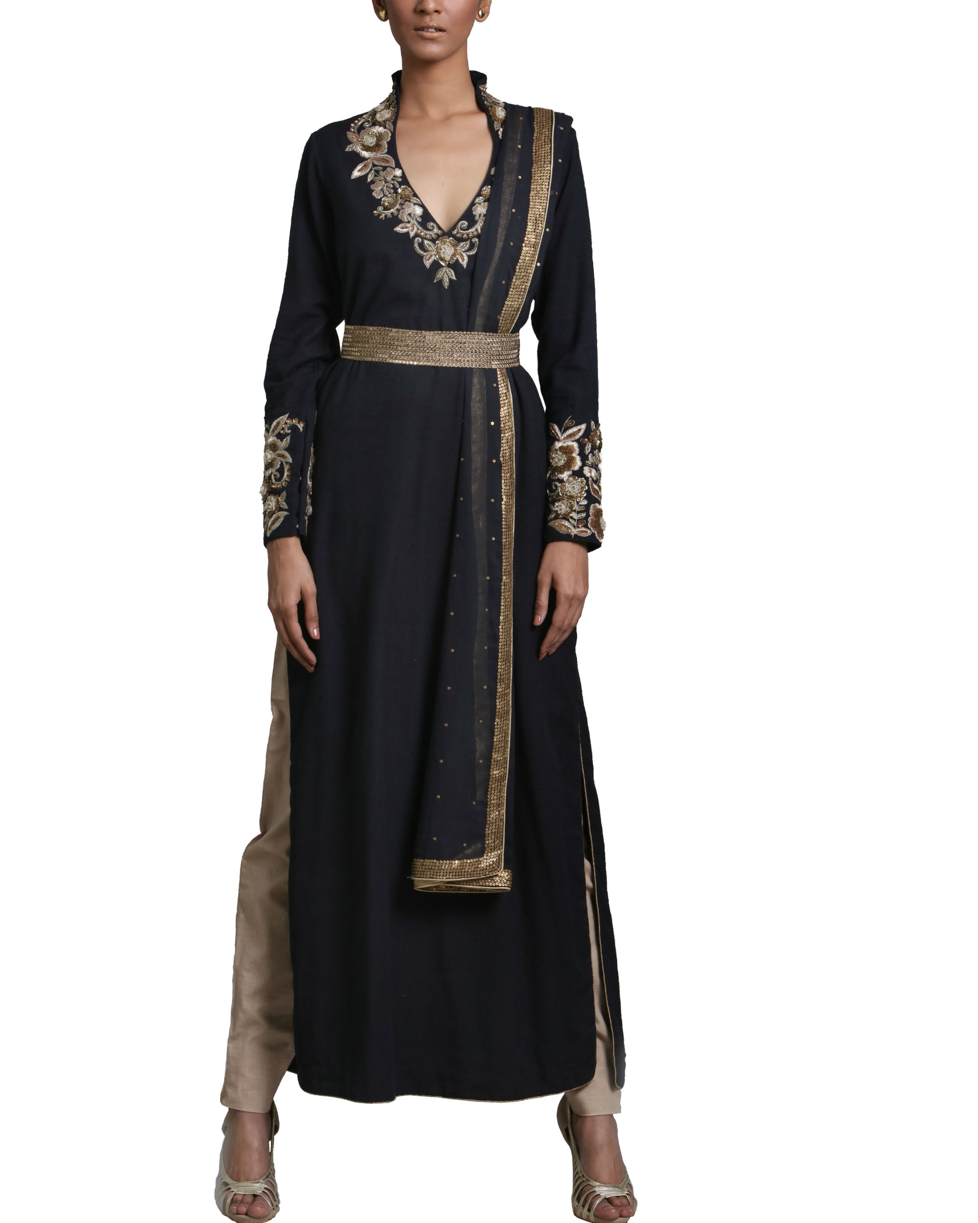 Black peshwa kurta set