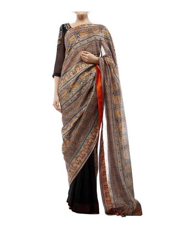 Embroidered blouse, half black georgette with half ajrakh prints  sari