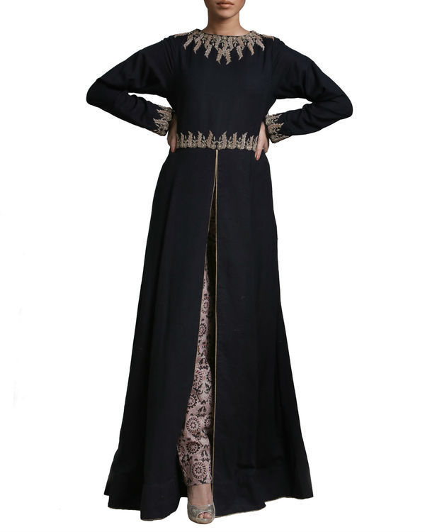 Black long flared kurta set