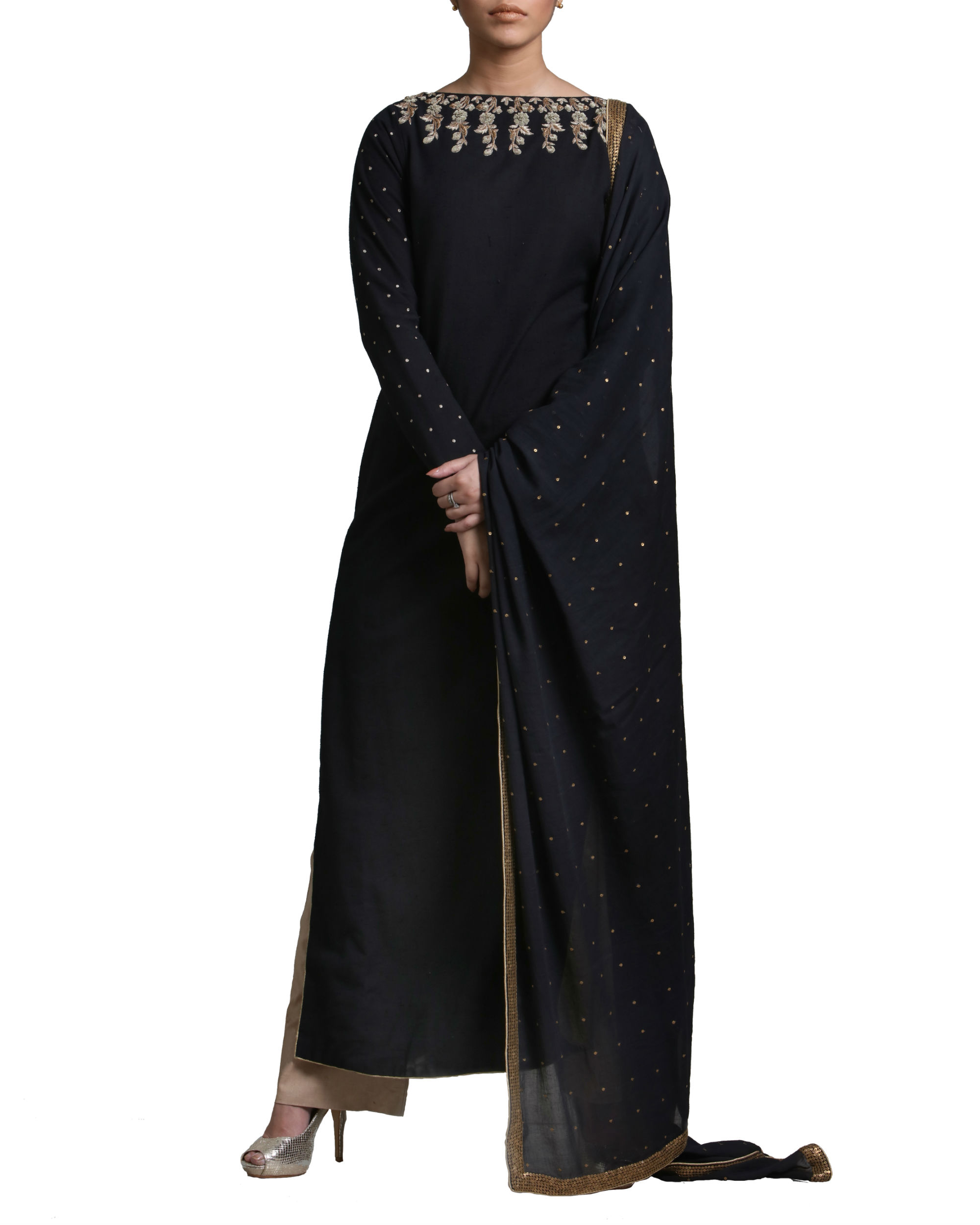 Black kurta set with dupatta