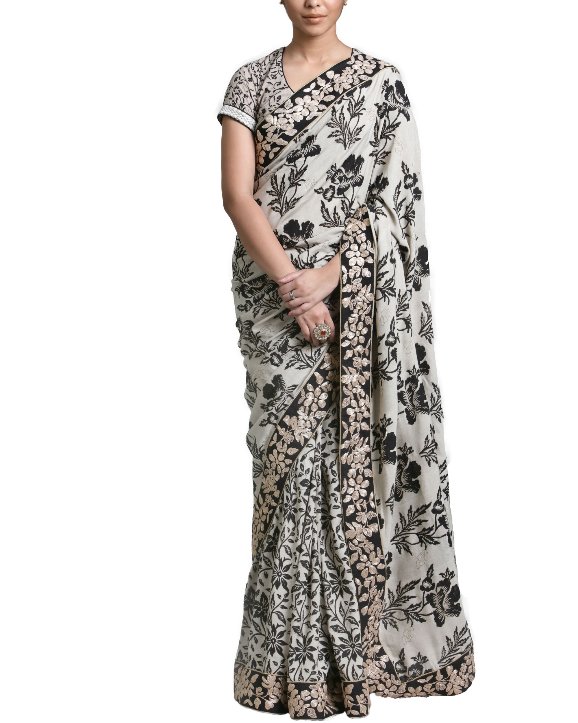 Beige and black sari