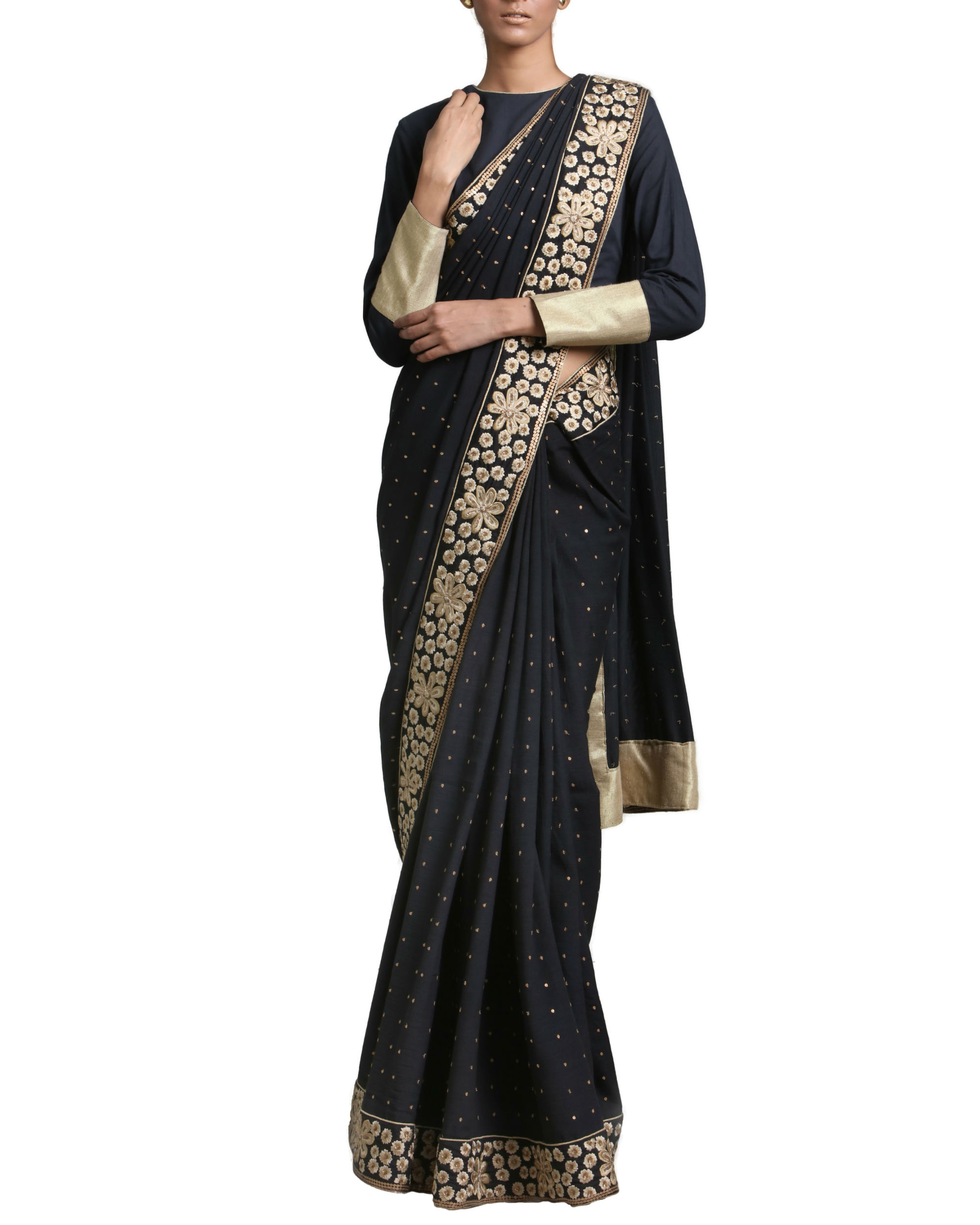 Black and gold saree